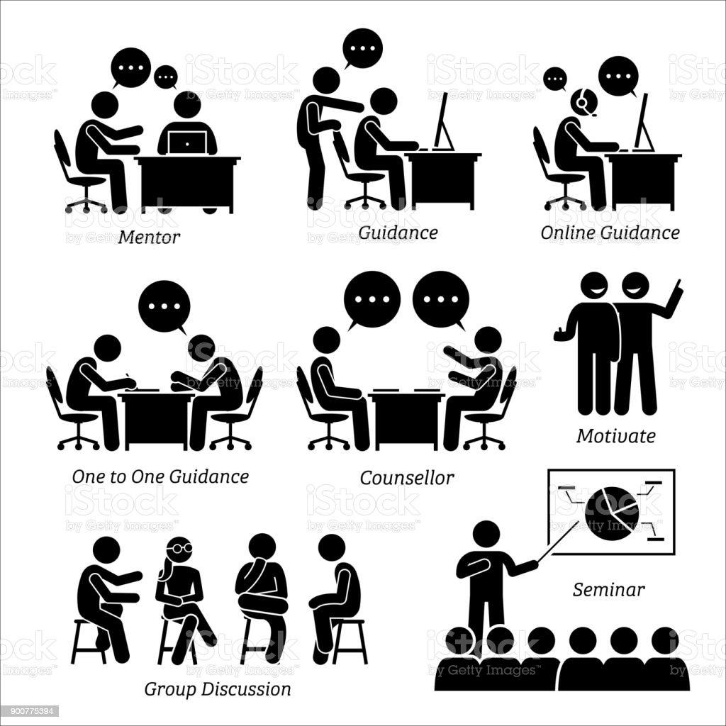 Mentor guidance coach for business executive. vector art illustration
