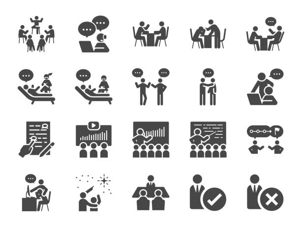 illustrazioni stock, clip art, cartoni animati e icone di tendenza di mentor icon set. included icons as adviser, counsellor, consultant, teaching, guide, guidance and more. - guida turistica professione