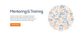 Mentoring and Training Banner Template with Line Icons. Modern vector illustration for Advertisement, Header, Website.