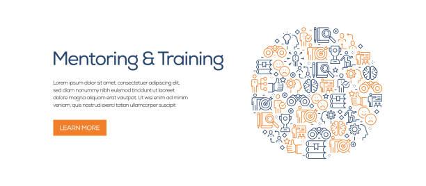 ilustrações de stock, clip art, desenhos animados e ícones de mentoring and training banner template with line icons. modern vector illustration for advertisement, header, website. - fundo oficina