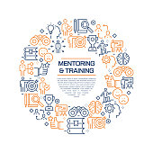 Mentoring and Training Concept - Colorful Line Icons, Arranged in Circle