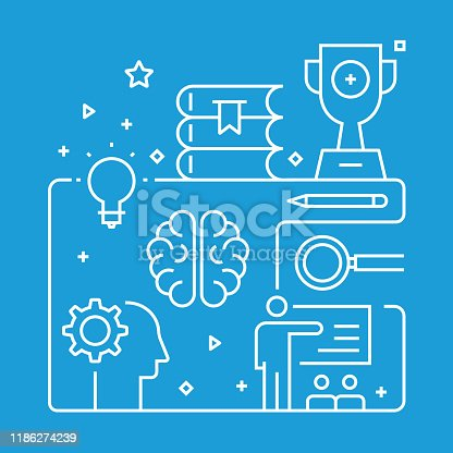 istock Mentoring and Training Concept Design Template. Outline Symbol Abstract 1186274239