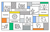Mentoring and Training Concept. Geometric Retro Style Banner and Poster Concept with Mentoring and Training Line Icons