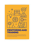 Mentoring and Training Concept Line Style Cover Design for Annual Report, Flyer, Brochure.