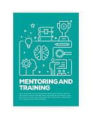istock Mentoring and Training Concept Line Style Cover Design for Annual Report, Flyer, Brochure. 1130470532