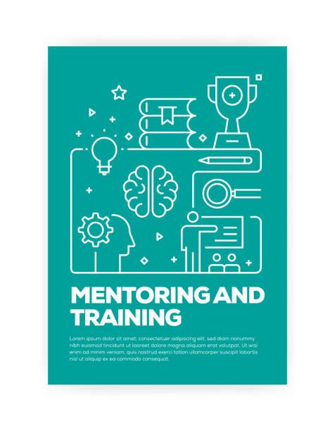 ilustrações de stock, clip art, desenhos animados e ícones de mentoring and training concept line style cover design for annual report, flyer, brochure. - fundo oficina