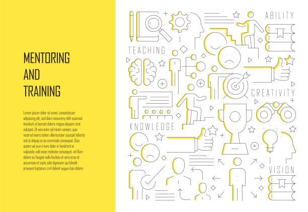 ilustraciones, imágenes clip art, dibujos animados e iconos de stock de mentoring and training related line design style web banner vector illustration - training
