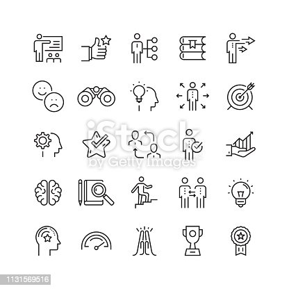 Mentoring and Training Related Vector Line Icons