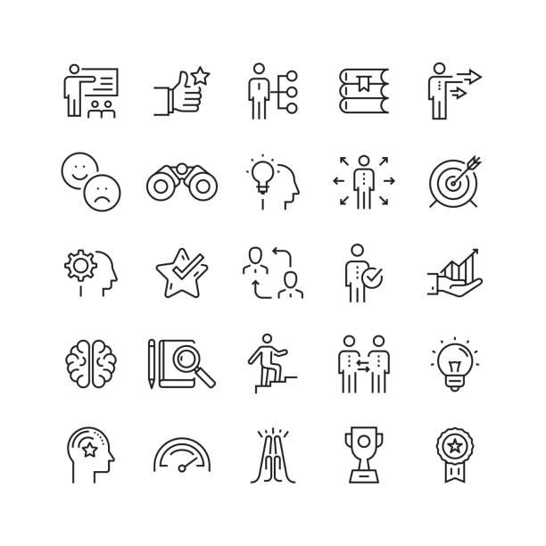 mentoring und training verwandter vector line icons - fähigkeit stock-grafiken, -clipart, -cartoons und -symbole