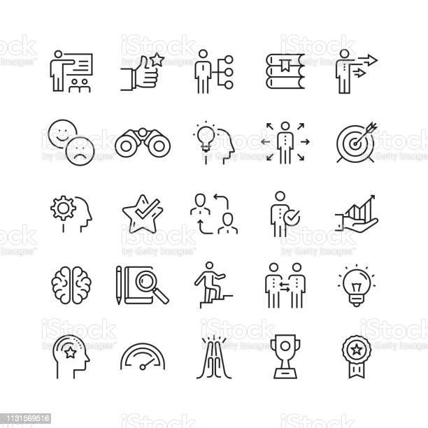 Mentoring And Training Related Vector Line Icons — стоковая векторная графика и другие изображения на тему Бизнес