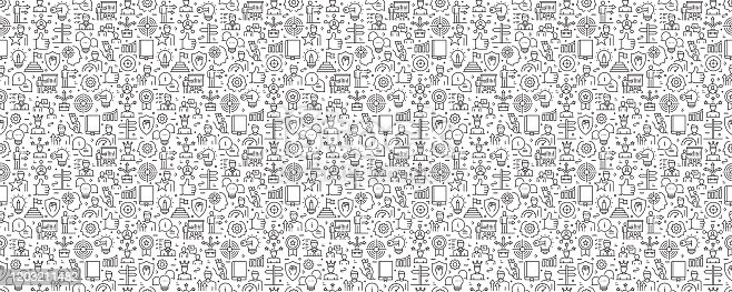 istock Mentoring and Training Seamless Pattern and Background with Line Icons 1203211482