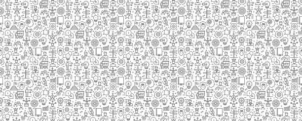Mentoring and Training Seamless Pattern and Background with Line Icons Mentoring and Training Seamless Pattern and Background with Line Icons backgrounds icons stock illustrations