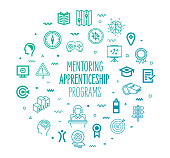 Mentoring apprenticeship programs outline style symbols on modern gradient background. Line vector icons for infographics, mobile and web designs.