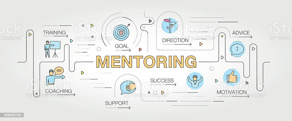 Mentoring banner and icons vector art illustration