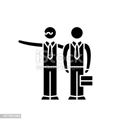 Mentoring black icon, concept vector sign on isolated background. Mentoring illustration, symbol