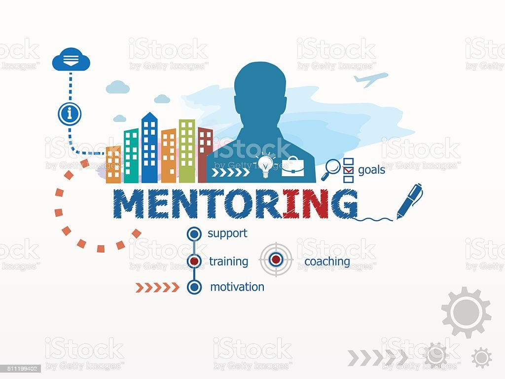 Mentoring concept and business man. vector art illustration