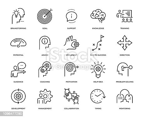 Mentoring Icon Set - Thin Line Series