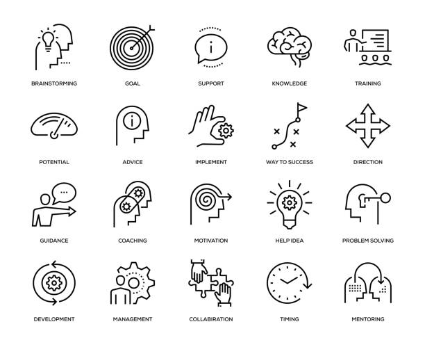 Mentoring Icon Set Mentoring Icon Set - Thin Line Series showing stock illustrations