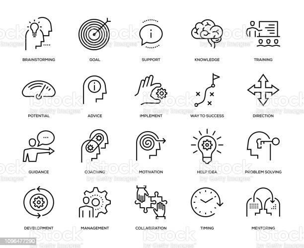 Набор Значков Наставничества — стоковая векторная графика и другие изображения на тему Бизнес