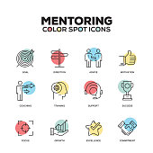Mentoring icons. Vector line icons set. Premium quality. Modern outline symbols and pictograms.