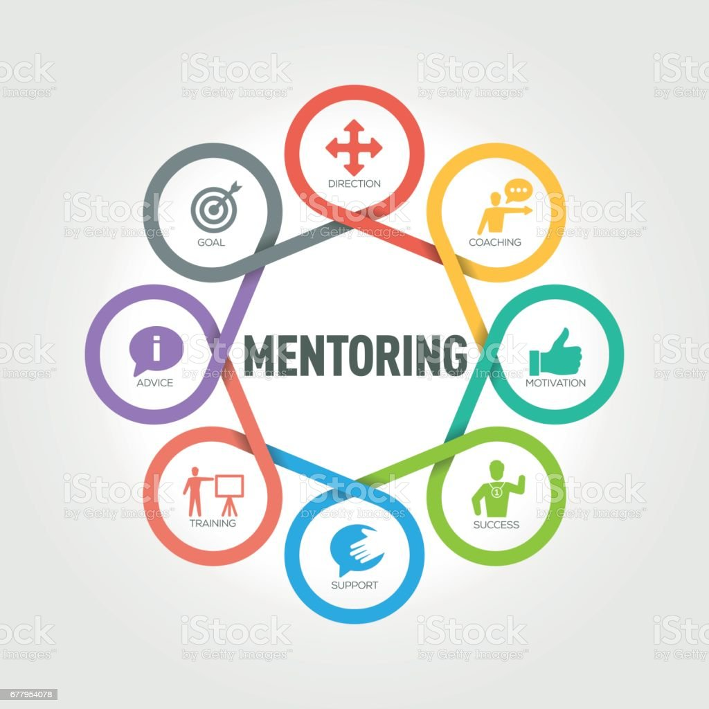 Mentoring infographic with 8 steps, parts, options