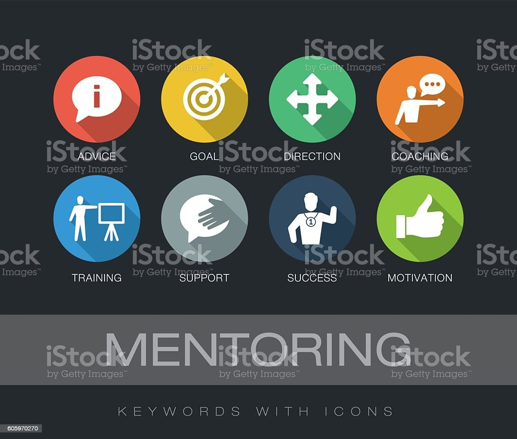 Mentoring keywords with icons - Illustration vectorielle