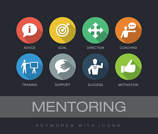 Mentoring keywords with icons vector art illustration
