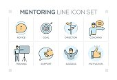 Mentoring keywords with line icons