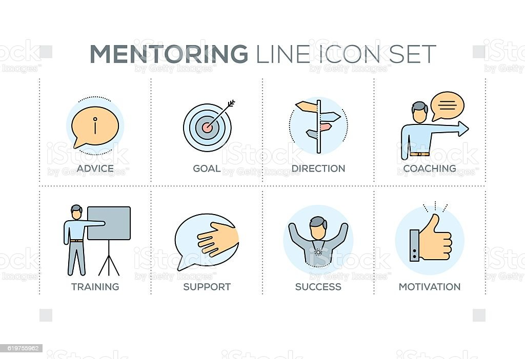Mentoring keywords with line icons vector art illustration