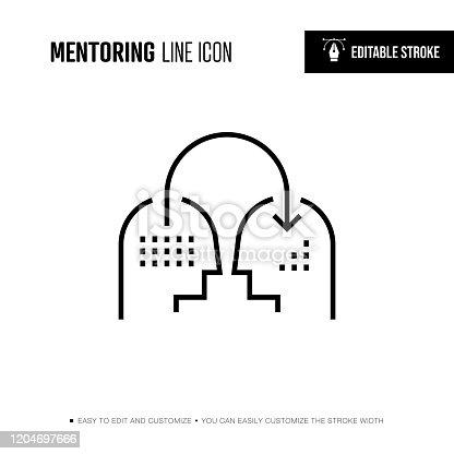 istock Mentoring Line Icon - Editable Stroke 1204697666