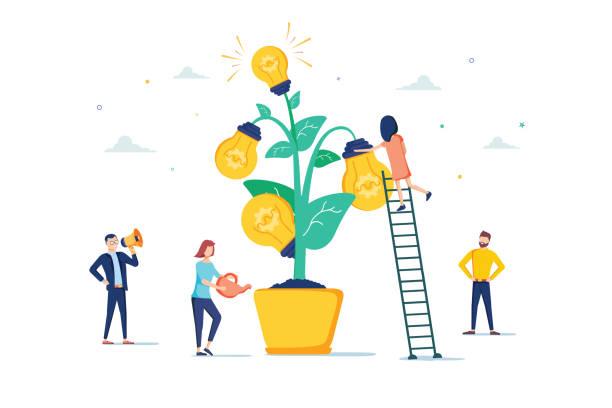 ilustracja wektorowa mentoringu. płaska mała motywacja kanapa osoby koncepcji. nauczyciel rozwoju edukacji pracowniczej - umiejętność stock illustrations