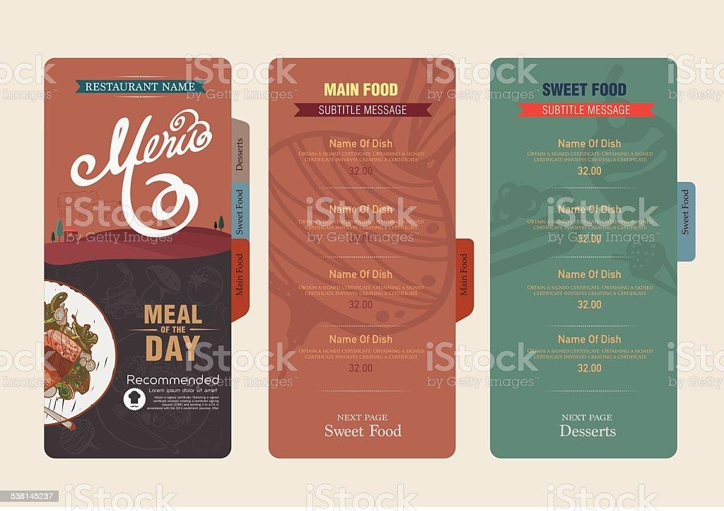 menu and icon design restaurant. vector art illustration