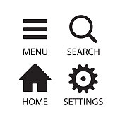Menu and search magnifying glass vector icon. Home and settings cogwheel symbol. Basic application interface button set. Web store and business software logo sign collection. Isolated on white background.