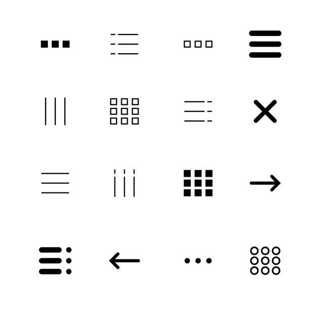 Menu and ui icons set vector art illustration