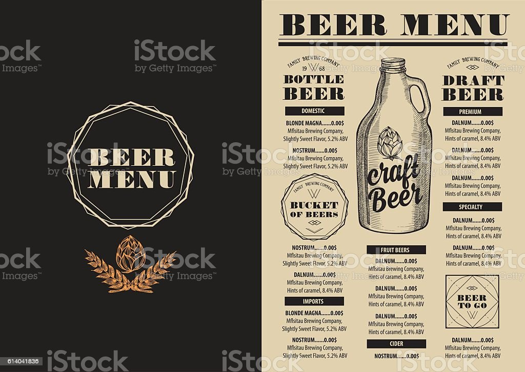 menu beer restaurant alcohol template placemat いたずら書きの