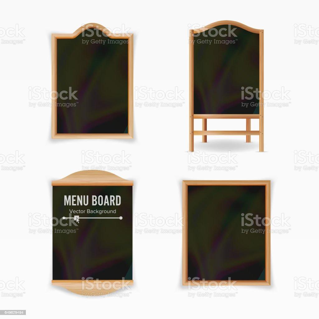 Menu Black Board Vector. Empty Cafe Menu Set. Realistic Wooden Chalkboard Blank Illustration vector art illustration