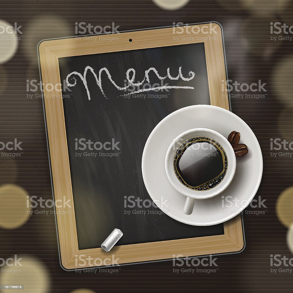 Menu blackboard background with cup of coffee royalty-free stock vector art