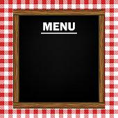 Empty menu blackboard on a red gingham pattern background.