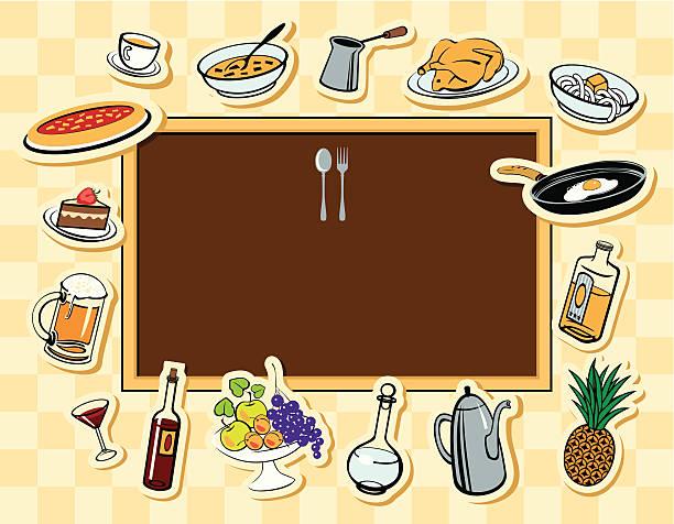 menü-tafel und verschiedene gerichte - pflaumenkuchen stock-grafiken, -clipart, -cartoons und -symbole