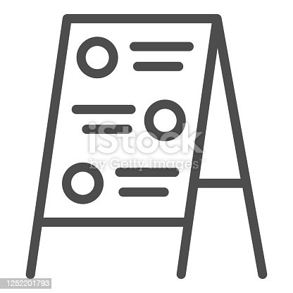 istock Menu board line icon, Street food concept, Sidewalk restaurant advert sign on white background, Menu black board icon in outline style for mobile concept and web design. Vector graphics. 1252201793