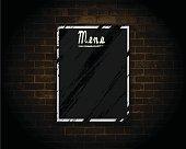 Menu Board on Brick Wall.
