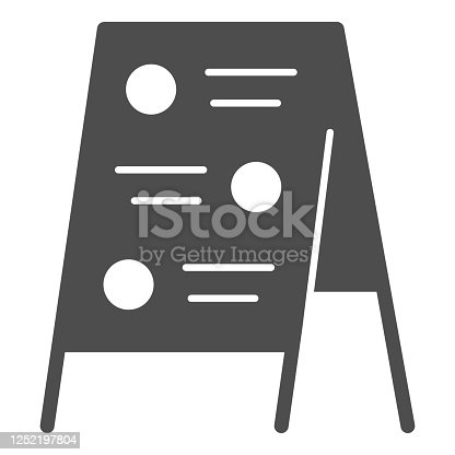 istock Menu board solid icon, Street food concept, Sidewalk restaurant advert sign on white background, Menu black board icon in glyph style for mobile concept and web design. Vector graphics. 1252197804