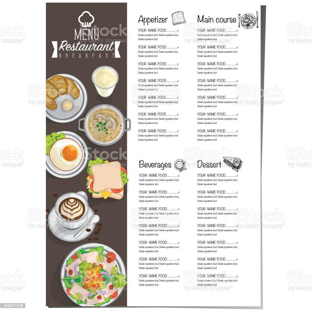 Menú Desayuno Comida Restaurante Plantilla Diseño Mano Dibujo ...