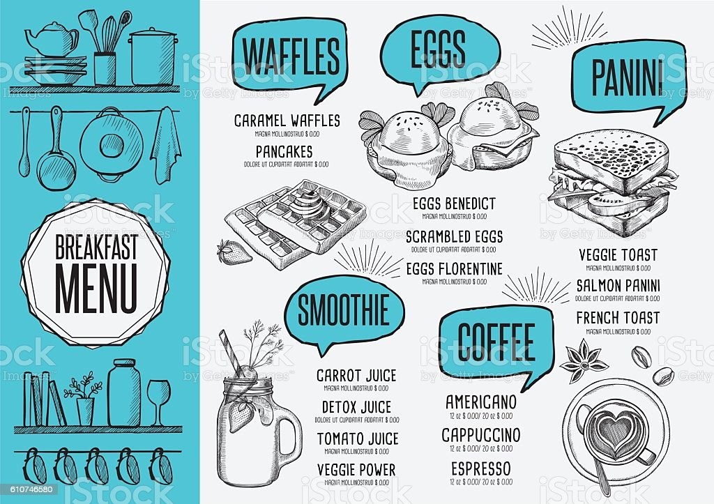 Menu breakfast restaurant, food template placemat. - ilustración de arte vectorial