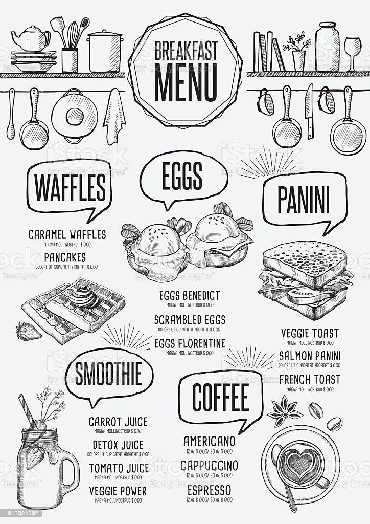 menu breakfast restaurant food template placemat stock vector art