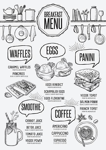 Menu breakfast restaurant, food template placemat. vector art illustration