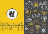 Breakfast menu placemat food restaurant brochure, template design. Vintage creative dinner flyer with hand-drawn graphic.