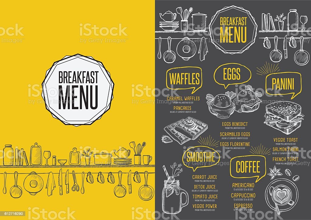 Menu breakfast restaurant, food template placemat. vector art illustration