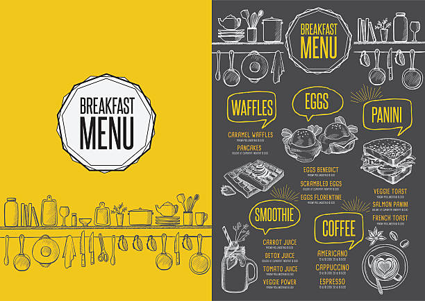 Menu breakfast restaurant, food template placemat. - Illustration vectorielle