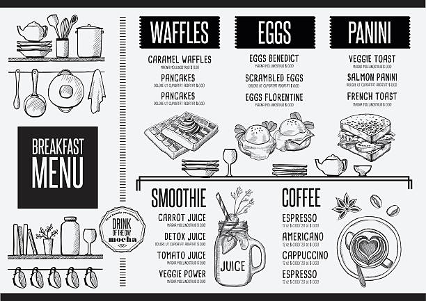 Menu breakfast restaurant, food template placemat. Breakfast menu placemat food restaurant brochure, template design. Vintage creative dinner flyer with hand-drawn graphic. brunch stock illustrations